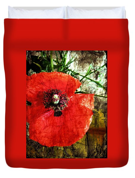 Duvet Cover featuring the photograph Poppy Variation by Kathy Bassett