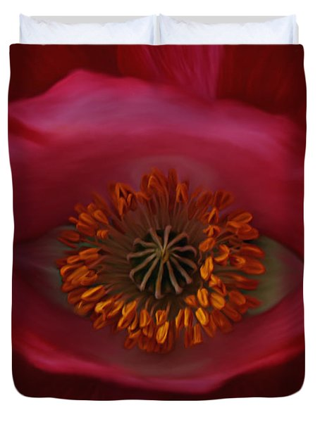 Duvet Cover featuring the photograph Poppy's Eye by Barbara St Jean
