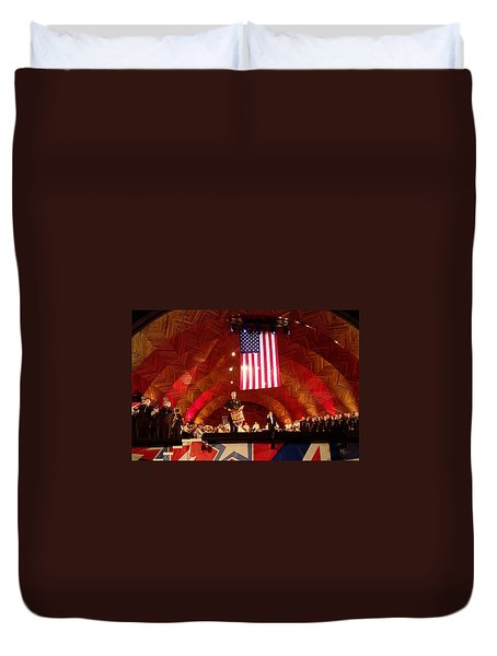 Duvet Cover featuring the photograph Pops Finale by Barbara McDevitt