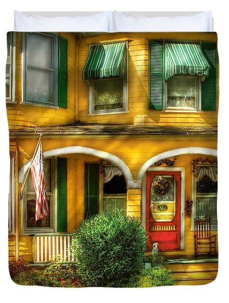 Porch - Cranford Nj - A Yellow Classic  Duvet Cover by Mike Savad