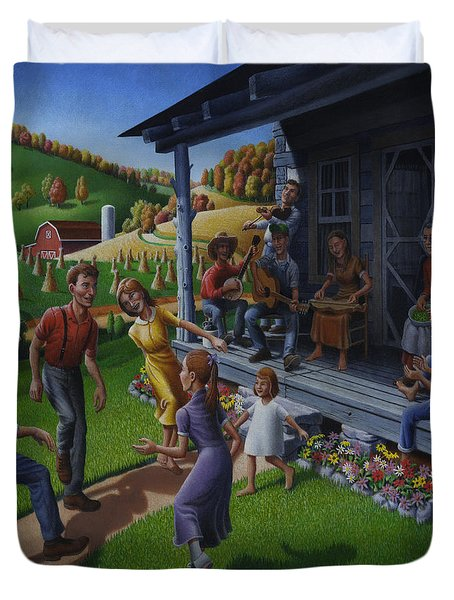 Porch Music And Flatfoot Dancing - Mountain Music - Farm Folk Art Landscape - Square Format Duvet Cover