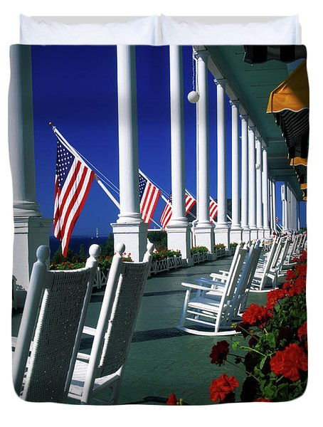 Porch Of The Grand Hotel, Mackinac Duvet Cover