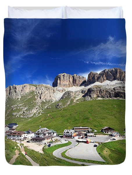 Pordoi Pass And Mountain Duvet Cover by Antonio Scarpi