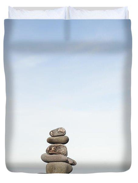 Porlock Weir Stone Stack Duvet Cover by Anne Gilbert