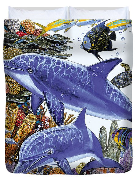 Porpoise Reef Duvet Cover by Carey Chen