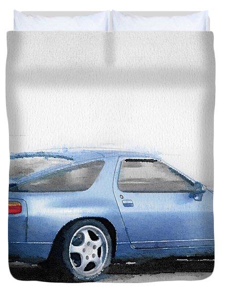 Porsche 928 Watercolor Duvet Cover