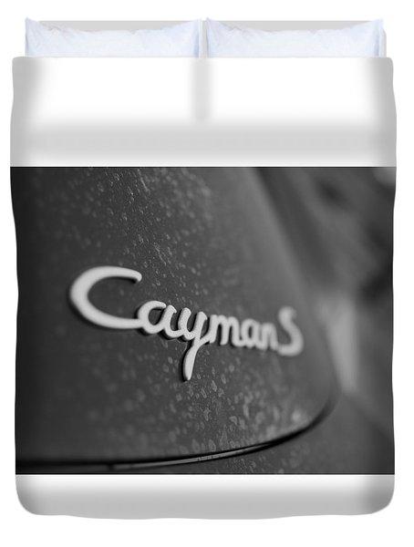 Standing Porsche Cayman S Duvet Cover