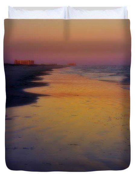 Duvet Cover featuring the photograph Port Aransas Sunset by Ellen Heaverlo