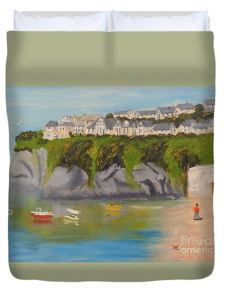 Duvet Cover featuring the painting Port Asaac Cornwell by Pamela  Meredith