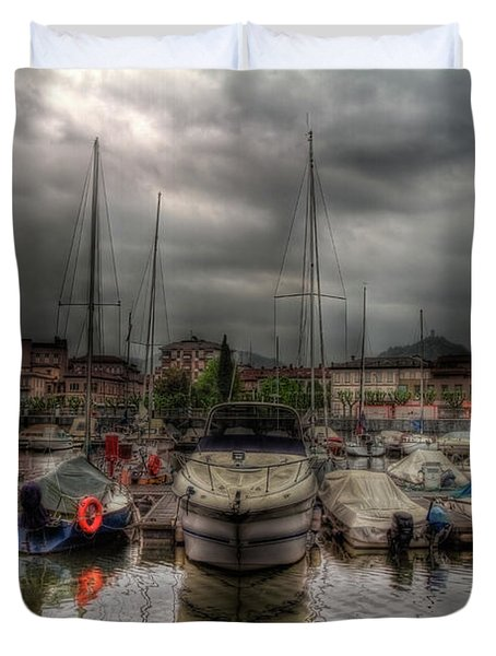 Port At Como Lake Duvet Cover