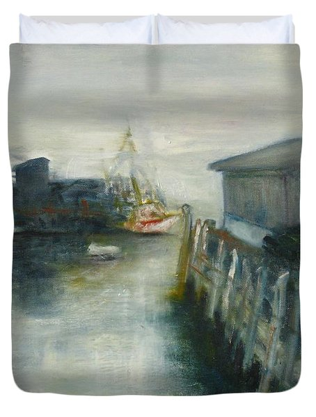 Port Clyde In Fog Duvet Cover