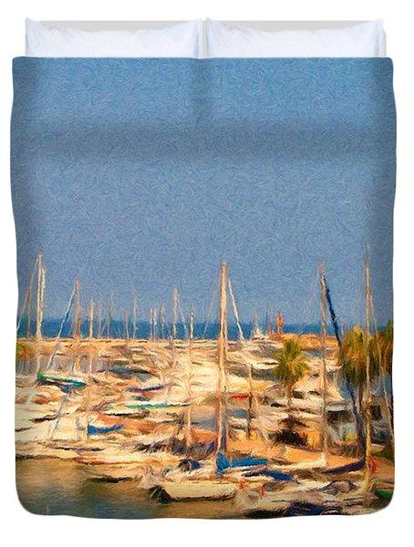 Port De Fontvieille Duvet Cover by Jeffrey Kolker
