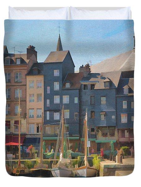 Port D'honfleur Duvet Cover by Jean-Pierre Ducondi