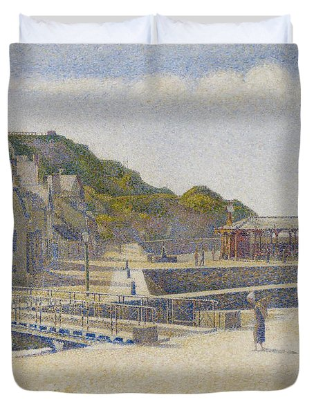 Port En Bessin Duvet Cover by Georges Pierre Seurat