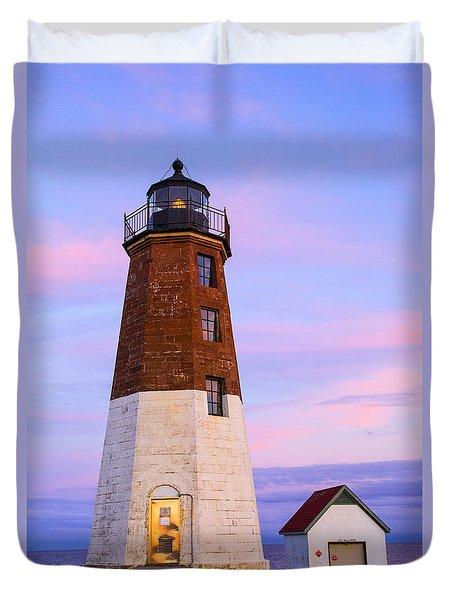 Port Judith At Sunset Duvet Cover by Karol Livote