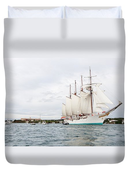Juan Sebastian De Elcano Famous Tall Ship Of Spanish Navy Visits Port Mahon In Front Of Bloody Islan Duvet Cover