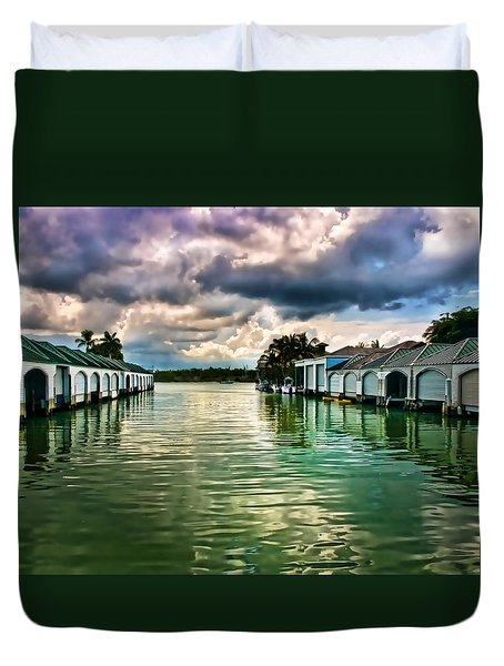 Storm Clouds Over  Port Royal Boathouses In Naples Duvet Cover