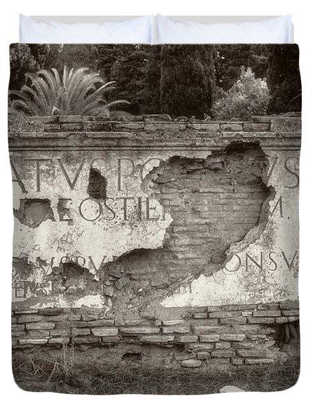 Porta Romana In Sepia Duvet Cover