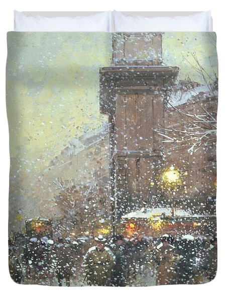 Porte St Martin In Paris Duvet Cover by Eugene Galien Laloue