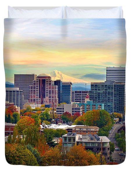 Portland Downtown Cityscape In The Fall Duvet Cover