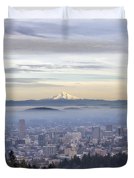 Portland Downtown Foggy Cityscape Duvet Cover