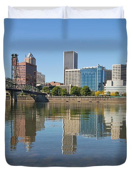 Duvet Cover featuring the photograph Portland Downtown Skyline And Hawthorne Bridge by JPLDesigns