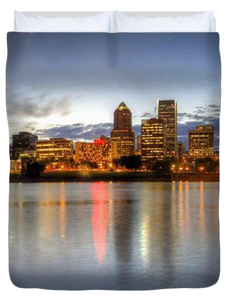 Portland Downtown Skyline Night Panorama 2 Duvet Cover