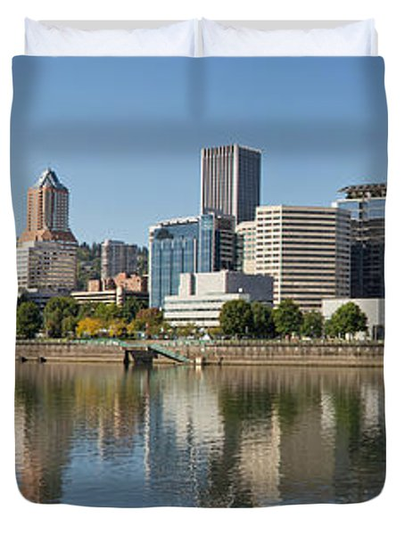Duvet Cover featuring the photograph Portland Downtown Waterfront Skyline Panorama by JPLDesigns
