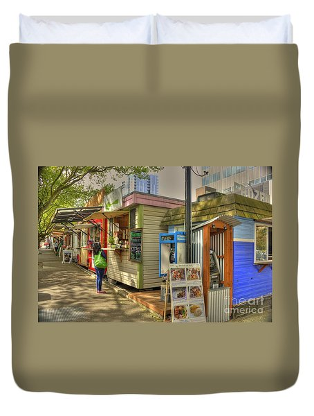 Portland Food Carts Duvet Cover