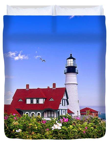 Portland Head Light And Roses Duvet Cover by Mitchell R Grosky