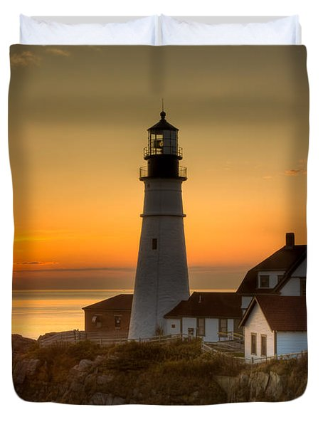 Portland Head Light At Sunrise II Duvet Cover by Clarence Holmes