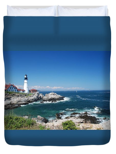 Portland Head Lighthouse Duvet Cover by Allen Beatty