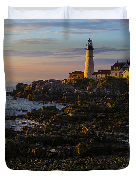 Portland Head Lighthouse At Dawn Duvet Cover by Diane Diederich