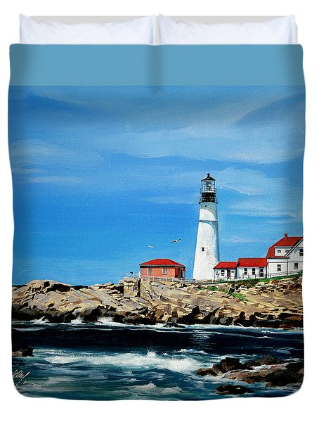 Portland Head Lighthouse Duvet Cover by Bill Dunkley