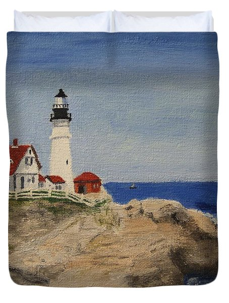 Portland Head Lighthouse In Maine Duvet Cover