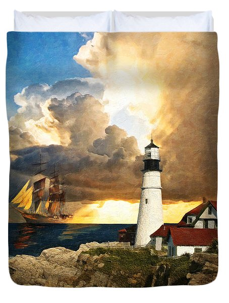 Portland Head Lighthouse Duvet Cover by Lianne Schneider
