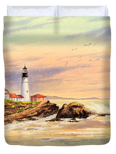 Portland Head Lighthouse Maine Duvet Cover