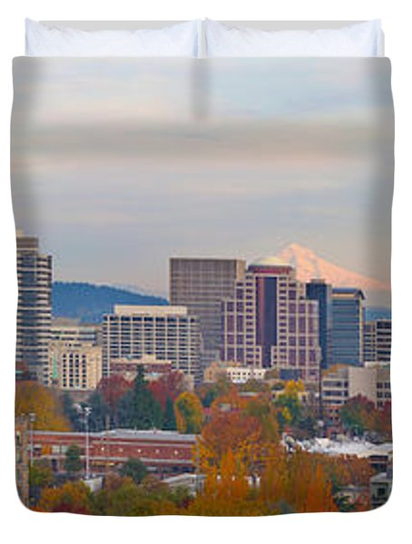 Portland Oregon City Skyline And Mount Hood Duvet Cover