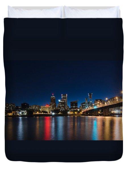 Portland Oregon Nightscape Duvet Cover