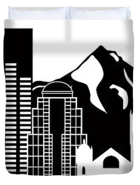 Portland Oregon Skyline Black And White Illustration Duvet Cover