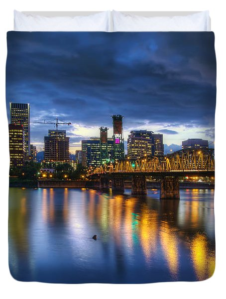Portland Oregon Waterfront At Blue Hour Duvet Cover by David Gn