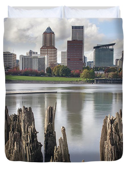 Portland Oregon Waterfront Duvet Cover