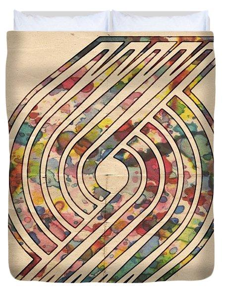 Portland Trailblazers Poster Art Duvet Cover by Florian Rodarte
