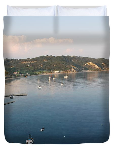 Duvet Cover featuring the photograph Porto Bay by George Katechis