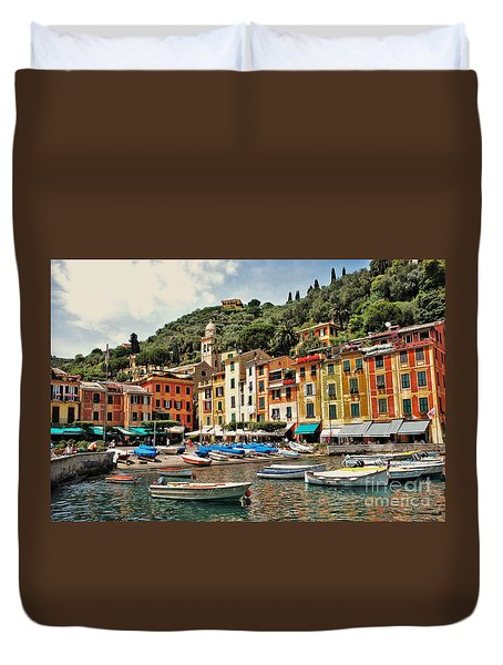 Portofino Harbor 2 Duvet Cover by Allen Beatty
