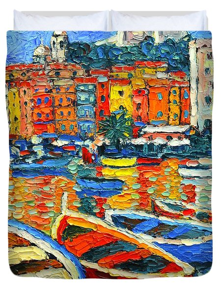 Portovenere Harbor - Italy - Ligurian Riviera - Colorful Boats And Reflections Duvet Cover