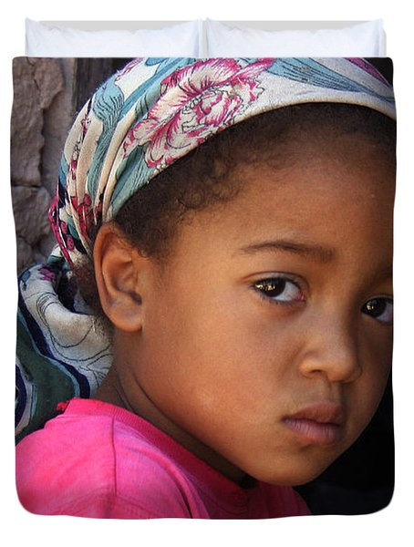 Portrait Of A Berber Girl Duvet Cover by Ralph A  Ledergerber-Photography