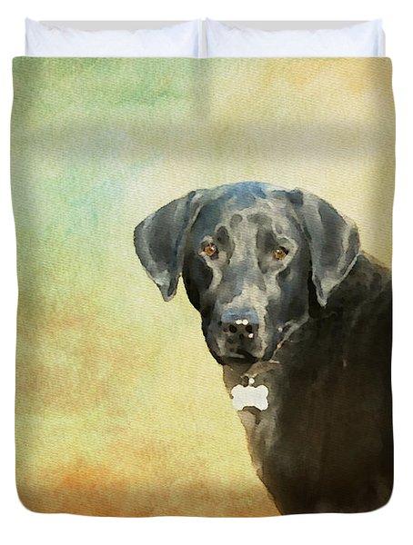 Portrait Of A Black Labrador Retriever Duvet Cover