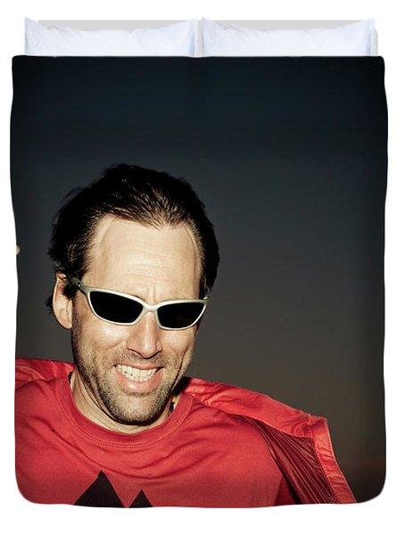 Portrait Of A Blind Athlete Leaning Duvet Cover