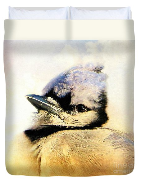 Portrait Of A Blue Jay Duvet Cover